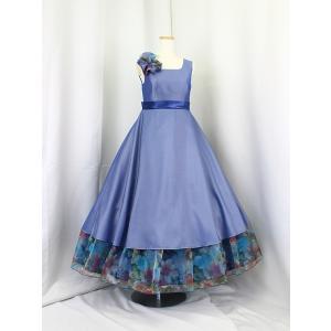 高級子供ドレス ゆめりすと ロゼリッタ グレイッシィネイビー 140 安心の足首丈|yume-list