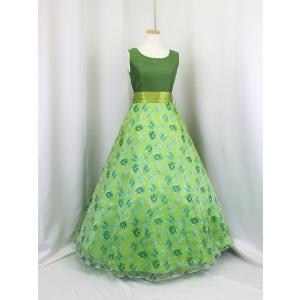 高級子供ロングドレス ゆめりすと セレナーデss グリーン 160|yume-list