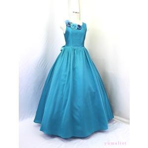 ゆめりすと シャンタンロング SE2 ターコイズブルー 165:高級子供ロングドレス yume-list