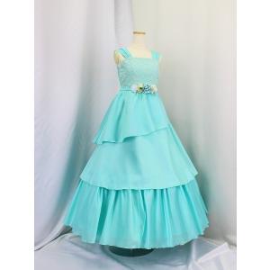 高級子供ロングドレス ゆめりすと シェリーム SE ミントグリーン 安心の足首丈 130|yume-list