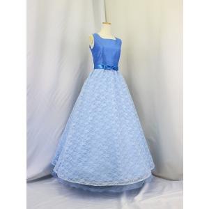 高級子供ドレス 受注生産 ゆめりすと シャンタンレースオーガン ブルー|yume-list