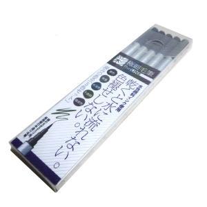 筆ペン あかしや 新 極細毛筆 [彩] ThinLINE 深みのある 5色セット
