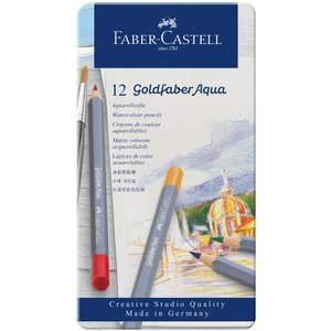 Faber-Castell ファーバーカステル ゴールドファーバーアクア水彩色鉛筆セット 12色セット (缶入)|yumegazai