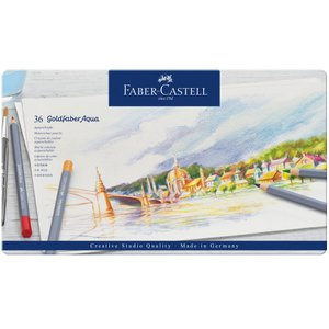 Faber-Castell ファーバーカステル ゴールドファーバーアクア水彩色鉛筆セット 36色セット (缶入)|yumegazai