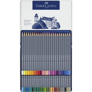 Faber-Castell ファーバーカステル ゴールドファーバーアクア水彩色鉛筆セット 48色セット (缶入)|yumegazai