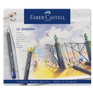 Faber-Castell ファーバーカステル ゴールドファーバー色鉛筆セット 24色セット (缶入)|yumegazai