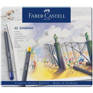 Faber-Castell ファーバーカステル ゴールドファーバー色鉛筆セット 48色セット (缶入)|yumegazai