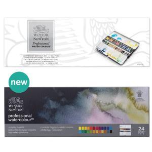 Winsor&Newton アーチスト水彩絵具 プロフェッショナルウォーターカラー 24色セット ハーフパン ライトウェイト メタルボックス|yumegazai