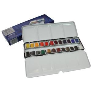 Winsor&Newton コットマンウォーターカラー 水彩絵具 24色セット メタルスケッチボックスセット|yumegazai
