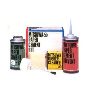 のり 接着剤ミツワ ペーパーセメント Sコート (片面塗り 緑缶) 道具一式3点セット|yumegazai