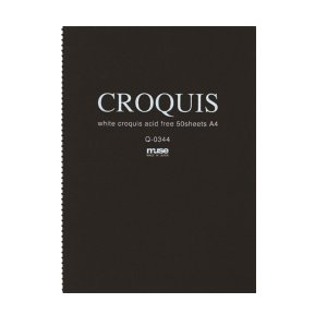 CROQUIS クロッキーブック ホワイト A4 黒表紙 yumegazai