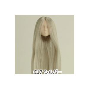 オビツ27オビツドール 27HD-01 植毛ヘッド01 ホワイティ シルバー人形の頭 ウィッグ 髪の毛付き|yumegazai
