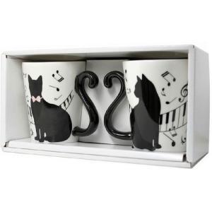 マグカップル 黒猫/ピアノ (ペアマグカップ) yumegazai