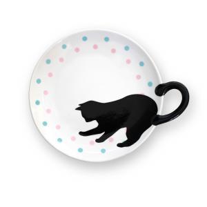黒猫しっぽ皿 M/ドット|yumegazai