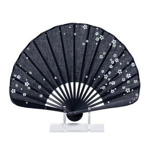 シェル型 布扇子 7寸17間 さくら黒|yumegazai