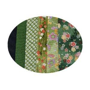 はぎれちりめん (約13×20cm)6枚組 アソート 緑系|yumegazai