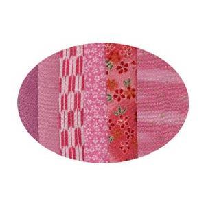 はぎれちりめん (約13×20cm)6枚組 アソート ピンク系 yumegazai