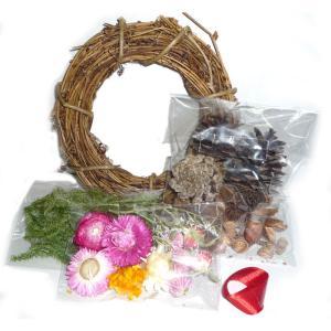 【クリスマス リース飾り】森のリースキット A ※リース寸法(約160mlφ)|yumegazai