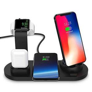 ワイヤレス充電スタンド Hoosoome 4-in-1 Apple Watch スタンド 置くだけ充...