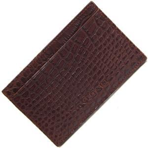 ブルガリ カードケース 20355 ダークブラウン ソフトクロコダイル 中古 茶 革 薄型 アリゲーター マット BVLGARI|yumeichiba-premium