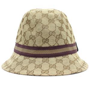 0e192747c91e グッチ ハット GG シェリーライン 200036 ベージュ ブラウン キャンバス Mサイズ 中古 帽子 ロゴ入り ウェビング GUCCI
