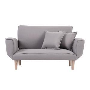 ソファー 2人掛け ローソファー レトロ風 sofa 北欧 背もたれ/アーム5段可動 抱きまくら2個付き|yumeka