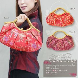 チャイナ風 ハンドバッグ 布製 赤/紫 花柄&紋 絢爛豪華な中国伝統柄|yumekairo