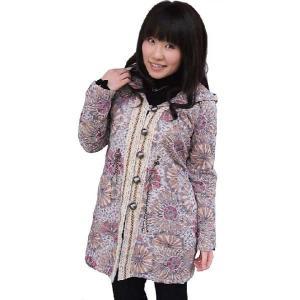 可愛いコート フード付きでロングのセンターレース仕立て レディース 母の日ギフト Mサイズ|yumekairo