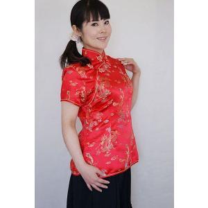 チャイナ服 母の日ギフト パーティ衣装 レディース 赤色 龍の模様 M L メール便 送料無料|yumekairo