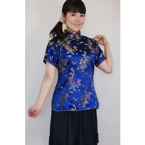 チャイナ服 半袖 パーティ衣装 レディース 母の日ギフト 青色 【龍の模様】 M L メール便 送料無料|yumekairo