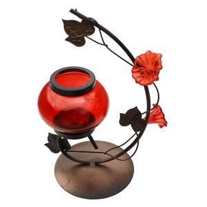 クリスマス ギフトの蝋燭付きランプ(赤)アンティーク yumekairo