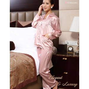 シルクパジャマ レディース 絹100% 長袖 前開き 誕生日ギフト ローズピンク 花柄刺繍 ルームウェア|yumekairo|04