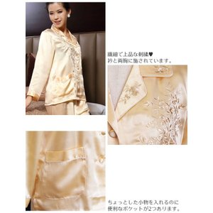 シルクパジャマ レディース 絹100% サテン 長袖 前開き 誕生日 イエロー 花柄刺繍 ルームウェア|yumekairo|06