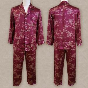 シルクパジャマパジャマ シルク100% 長袖 メンズ ルームウェア 寝間着 エンジ ワインレッド ゴールドハート柄 SMR|yumekairo|02