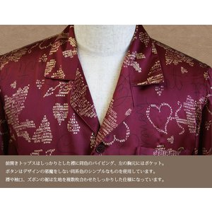 シルクパジャマパジャマ シルク100% 長袖 メンズ ルームウェア 寝間着 エンジ ワインレッド ゴールドハート柄 SMR|yumekairo|05