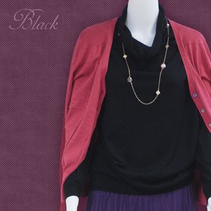 オフタートル ニット プルオーバー セーター UV 紫外線対策 ドレープ シルクカシミヤ グレー/ブラック ゆるシルエット|yumekairo|05