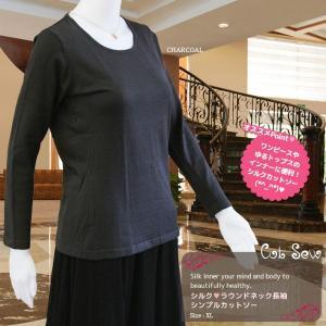 シルクインナー セーター カットソー 黒 ブラック ストレッチ ニット レディース メール便 送料無料|yumekairo