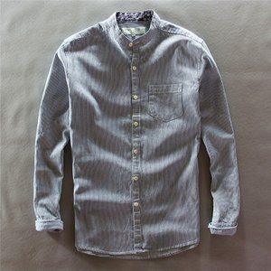 シャツ メンズ 長袖 ストライプ バンドカラー コットン カジュアル   襟は人気のバンドカラー仕様...