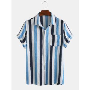 半袖シャツ カジュアルシャツ メンズ 前開き ボタンダウン 無地 ストライプ 胸ポケット ノーアイロ...