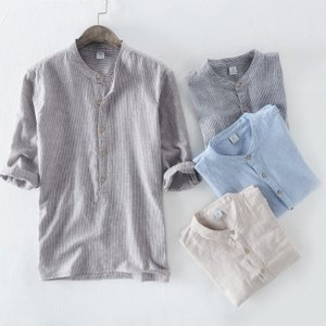 リネンシャツ メンズ 半袖 ストライプ バンドカラー 綿麻 ...