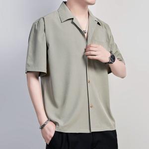 開襟シャツ メンズ 半袖 シンプル 無地 カラフル オーバーサイズ リラックス オープンカラーシャツ...