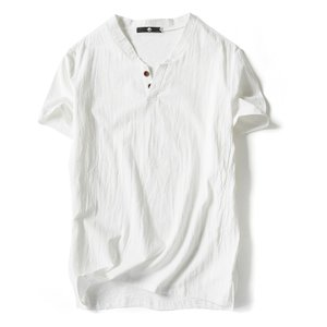 メンズ 半袖Tシャツ 無地 綿麻 類ヘンリーネック カジュア...