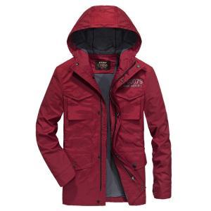 ジャケット メンズ フード付き 英文字  静電気防止 アウター コート カジュアル 保温防寒|yumekakaku
