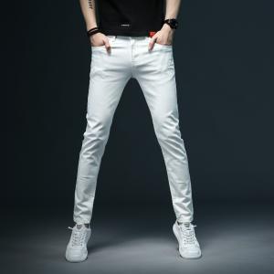 デニムパンツ ジーンズ メンズ ストレッチ 薄手 ビジネス ホワイト 白 ズボン 爽やか 春 夏