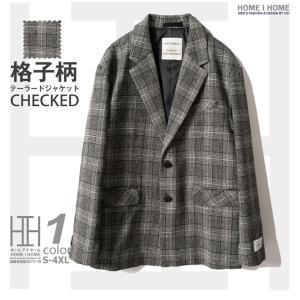 ジャケット メンズ テーラードジャケット チェック柄  カジュアル 2ボタン ウール スーツ物...