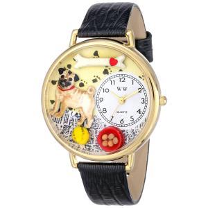 パグ 黒レザー ゴールドフレーム時計 #G0130061|yumemirai-store
