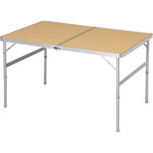 アイリスプラザ テーブル アウトドア 幅120×奥行80×高さ70~39cm ナチュラル yumemirai-store