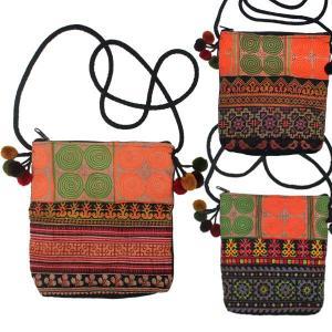 ポシェット ショルダーバック エスニック バッグ ポシェット モン族 ポンポン ポシェット|yumenetshop
