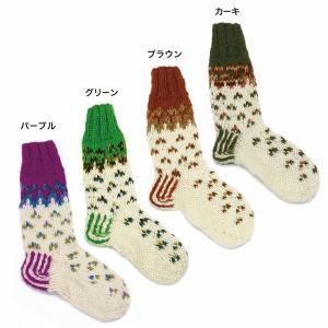 靴下 ロングソックス  グラデーション&ドット ウール 女子キャンプ 山ガール ファッション エスニック 富士登山|yumenetshop