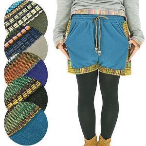 ショートパンツ 山ガール レディース ファッション エスニック 民族柄 フリース レトロ ストライプ 森ガール yumenetshop